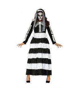Open Ribbenkast Skelet Vrouw Kostuum