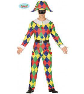 Kleurige Driehoekjes Harlekijn Man Kostuum