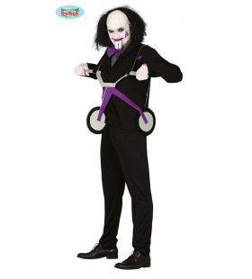 Saw Jigsaw Billy Moordenaar Met Driewieler Man Kostuum