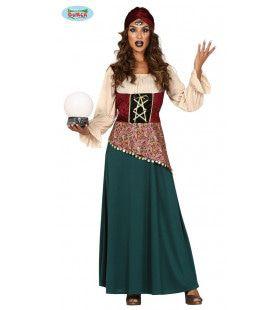 Voorspeller Van De Toekomst Glazen Bol Kijker Zigeunerin Vrouw Kostuum