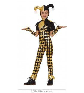 Luxe Goud Zwarte Hof Nar Joker Meisje Kostuum