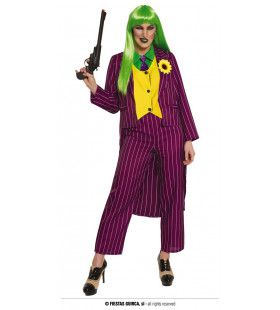 Paarse Gangster Schurk Paarse Joker Vrouw Kostuum