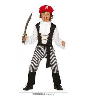 Zwart Wit Boekanier Piraat Jongen Kostuum