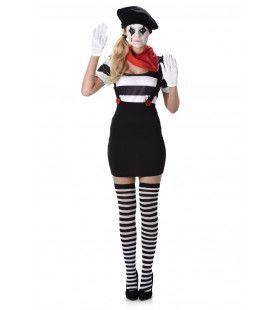 Mime Artiest Mondje Dicht Vrouw Kostuum