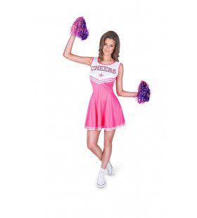 Roze Cheerleader High School Amerika Vrouw Kostuum