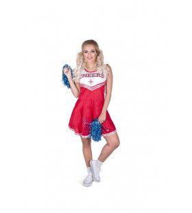 Hoge Sprong Benen Wijd Cheerleader Vrouw Kostuum