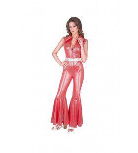 Rood Disco Ster Soul Pijpen Jumpsuit Vrouw Kostuum