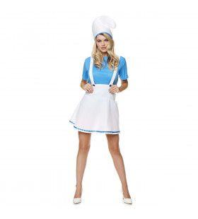 Keuken Smurf Nadja Schort Vrouw Kostuum