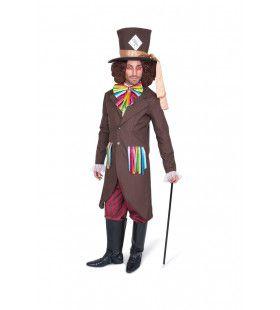 Bruine Mad Hatter Kolossale Hoed Man Kostuum