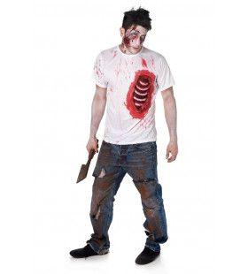 Open Borstwond Zombie Shirt Man