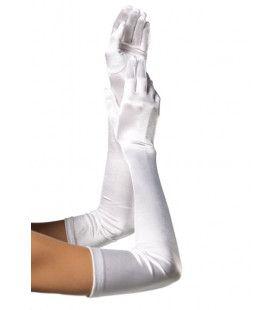 Extra Lange Satijnen Handschoenen Wit