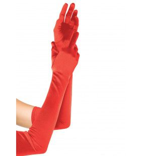 Extra Lange Satijnen Handschoenen Rood