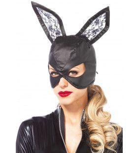 Imitatie-Lederen Kattenmasker Met Kanten Oren
