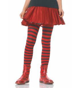 Gestreepte Meisjespanty Zwart-Rood