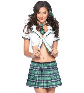 4 Delig Sexy Schoolmeisje Set Turquoise Vrouw Kostuum