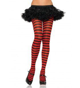 Nylon Gestreepte Panty Rood-Zwart