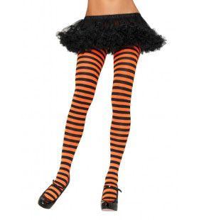 Nylon Gestreepte Panty Oranje-Zwart
