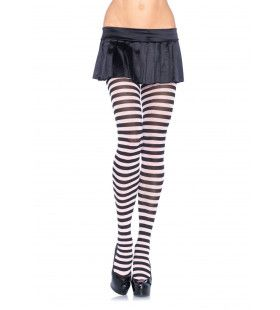 Nylon Gestreepte Panty Wit-Zwart (Plus Size)