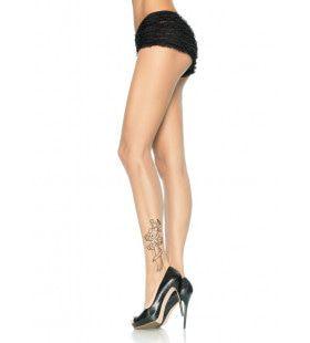 Transparante Elasthaan Panty Met Tattoo Print Op De Enkel