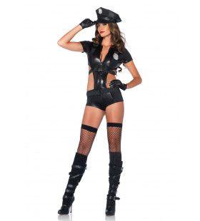 Erotische Politiedame Met Uitgesneden Zij Vrouw Kostuum