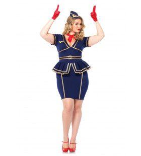 Vintage Sexy Stewardess (Plus Size) Vrouw Kostuum