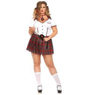 Engels Ondeugend Schoolmeisje (Plus Size) Vrouw Kostuum