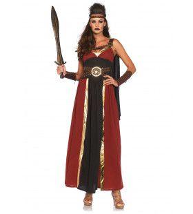 Spartaanse Strijdster Lang En Elegant Vrouw Kostuum