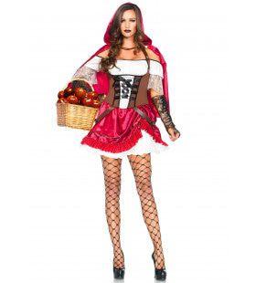 Strenge Aantrekkelijke Roodkapje Vrouw Kostuum