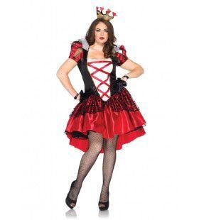 Rode Harten Koningin Speelkaart Vrouw Kostuum