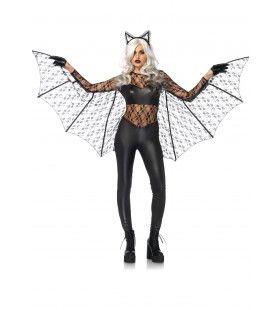 Strakke Zwarte Vleermuis Vrouw Kostuum