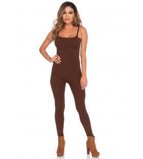 Elegante Bruine Unitard Jumpsuit Vrouw Kostuum