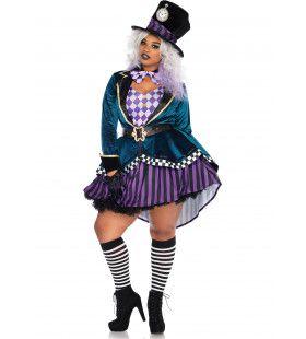 Plus Size Mad Hatter Vrouw Kostuum