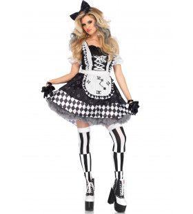 Zwart Witte Alice In Wonderland Vrouw Kostuum