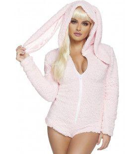 Heel Zacht Roze Konijn Vrouw Kostuum