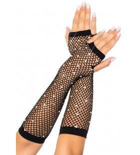 Zwarte Visnet Vingerloze Handschoen Met Strass