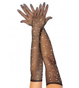 Zwarte Visnet Handschoen Met Strass