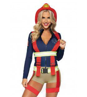 Hete Vuren Brandweervrouw Kostuum