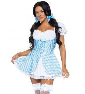Babyblauwe Dorstige Heidi Dirndle Vrouw Kostuum