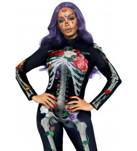 Fleurig Bloemen Skelet Vrouw Kostuum