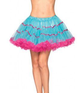 Gelaagde Tulle Petticoat Met Satijnen Band Blauw-Roze