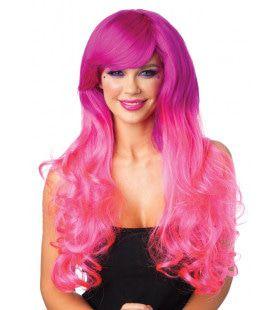 2 Kleurige Langharige Pruik Roze