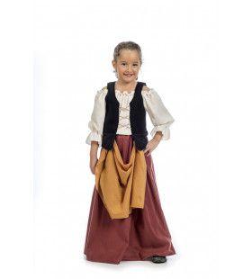 Chique Middeleeuws Boerinnetje Vlaanderen Meisje Kostuum