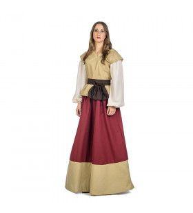 Beige Rood Middeleeuwse Dame Klaartje Van Nimwegen Vrouw Kostuum