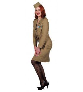 Andrew Sisters Uniform Leger Bruin Vrouw Kostuum
