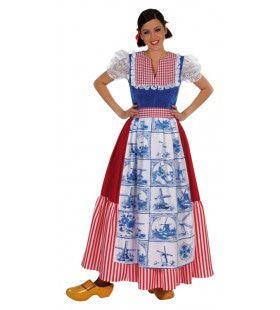 Boerin Hollandse Klederdracht Delfts Blauwe Tegel Vrouw Kostuum