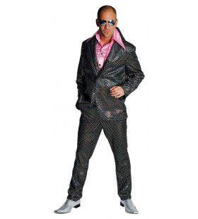 Zwarte Wandelende Discobol Pailletten Man Kostuum