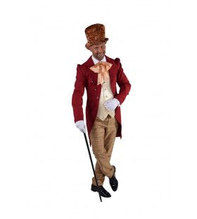 Aristocratische Victoriaanse Heer Bordeaux Rood Man Kostuum