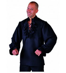 Stoere Zeeheld Piraat Hemd Met Ruches Zwart Man