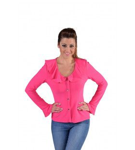 Jersey Blouse Brede Kraag Roze Vrouw