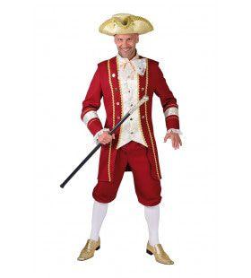Glimmende Mouwen Markies Rood Man Kostuum